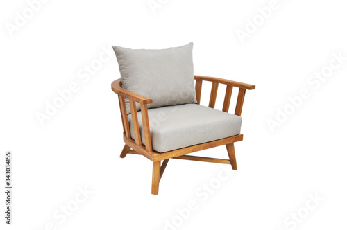 Photo Sofa arm chair natural wood with cushion on the seat and backrest