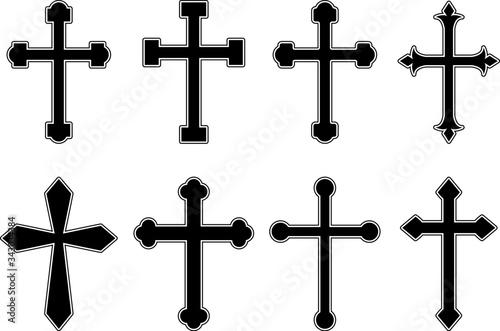 Fotografía Set of illustrations of christian religious crosses