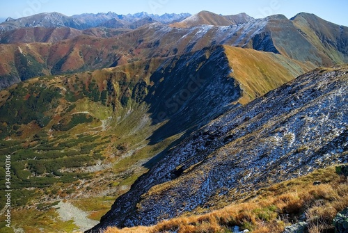 View from the ascent of the Volovec peak to the peaks of the Polish Tatras Canvas Print
