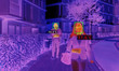 canvas print picture - Thermal screen scanner checking people temperature on business area. Focus on woman in foreground