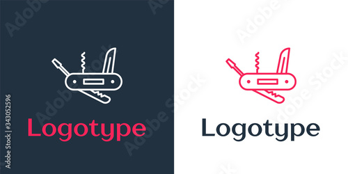 Logotype line Swiss army knife icon isolated on white background Tablou Canvas