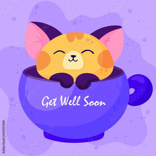 Get well soon sticker design, with animal cartoon symbols. Tablou Canvas