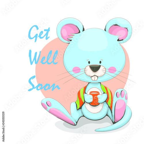 Fotografie, Tablou Get well soon sticker design, with animal cartoon symbols.