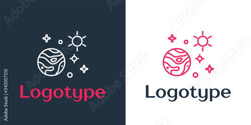Valokuva Logotype line Space and planet icon isolated on white background