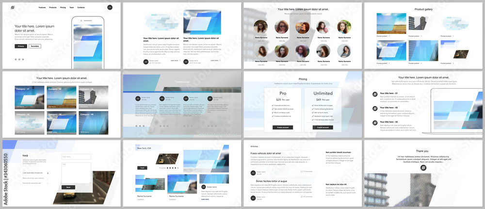 Fototapeta Presentation design vector templates, multipurpose template for presentation slide, flyer, brochure cover design, infographic report. Abstract geometric pattern. Corporate identity business concept.