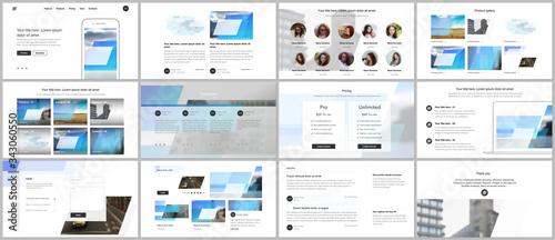 Fototapeta Presentation design vector templates, multipurpose template for presentation slide, flyer, brochure cover design, infographic report. Abstract geometric pattern. Corporate identity business concept. obraz