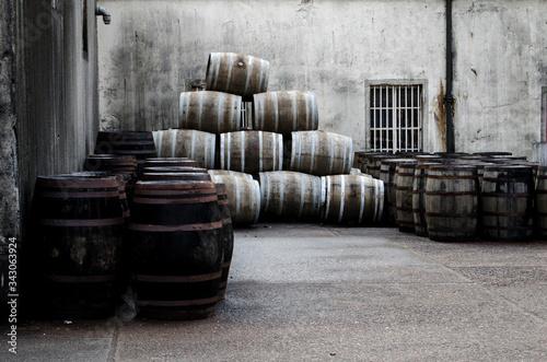 Photo Barrels On Street