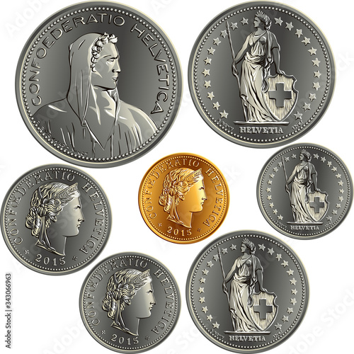 Set of Swiss Franc money, official coin in Switzerland, obverse face with alpine Tablou Canvas