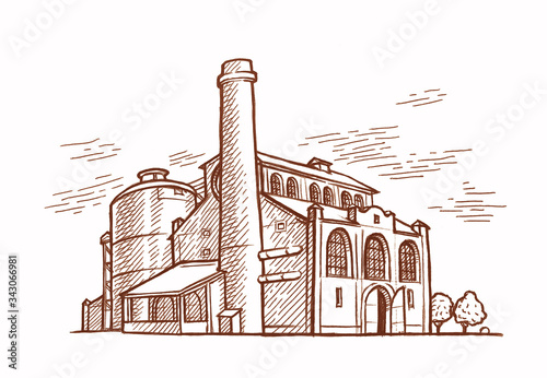Canvas Print Old factory (plant) engraving style illustration.