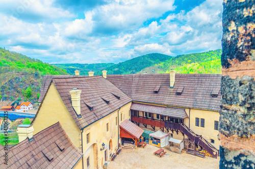 Courtyard of medieval Loket Castle (Hrad Loket) gothic style building on massive Canvas Print