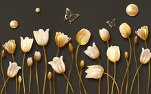 3d Mural Tulip Flowers With Golden Butterfly And Pearl In Dark Background