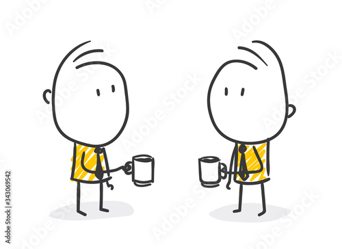 Fototapeta Strichfiguren / Strichmännchen: Pause, gelangweilt, Kaffeepause. (Nr. 481) obraz