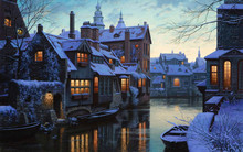 Boats Moored In Canal Amidst Frozen Houses At Dusk