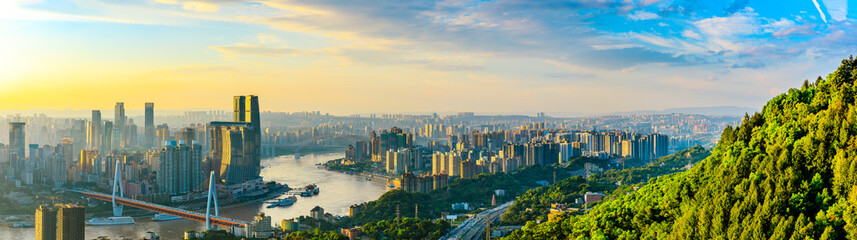 Chongqing city skyline and architectural landscape at sunset,China.