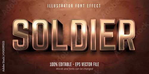 Soldier text, 3d bronze metallic style editable font effect Fototapet