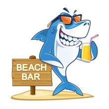 Shark With Sunglasses Holding ...