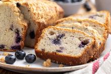Sliced Blueberry Streusel Loaf Bread