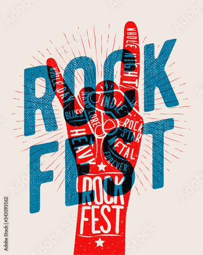 Rock hand gesture silhouette with rock fest caption. Live rock and roll music party or event or concert of festival poster concept. Vector illustration © paul_craft