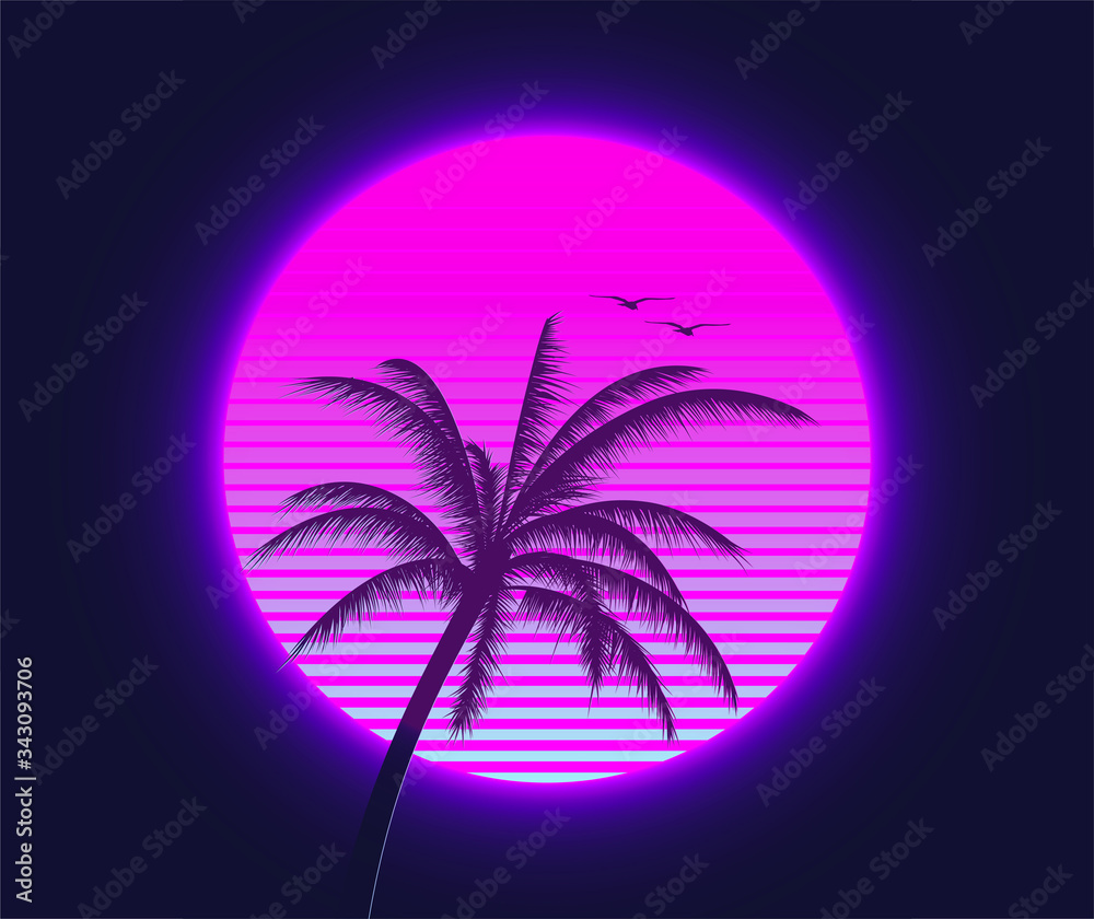 Fototapeta Retrowave sunset with palm silhouette and flying birds in the foreground. Summer time themed synthwave styled vector illustration.