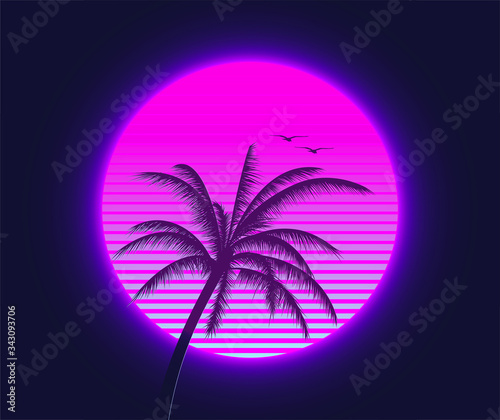 Obraz Retrowave sunset with palm silhouette and flying birds in the foreground. Summer time themed synthwave styled vector illustration. - fototapety do salonu