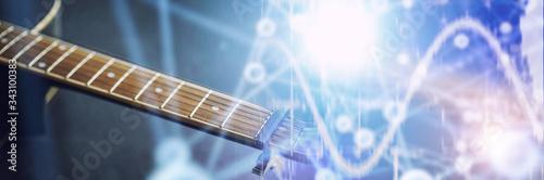An acoustic guitar for an artist playing a stringed musical instrument on stage Tapéta, Fotótapéta