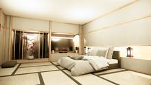 Modern Zen Peaceful Bedroom. Japan Style Bedroom With Shelf Wall Design Hidden Light And Decoration Nihon Style.3D Rendering