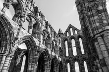 Whitby Abbey In England; Black And White