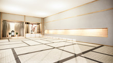 Nihon Room Interior Background With Shelf Wall Japanese Style Design Hidden Light.3d Rendering