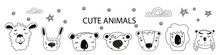Scandinavian Style, Simple Design, Clean And Cute Black, White Illustrations, Collection Of Children S Doodles, Sketches. Faces Of Bear, Llama, Panda, Hare, Tiger, Lion, Owl. Vector.