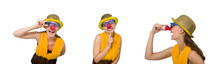 Funny Clown Woman Isolated On ...