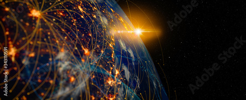 Fototapeta Photo of Energy Digitalization and Communication technology for internet business. Global world network and telecommunication on earth and  IoT. Elements of this image furnished by NASA obraz