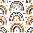 seamless pattern with colorful rainbow and flower - vector illustration, eps