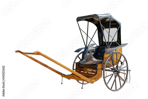 Fényképezés Old rickshaw isolated on a white background with clipping path.