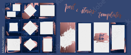 Trendy template for social networks stories and posts golden brush stroke vector illustration Canvas Print
