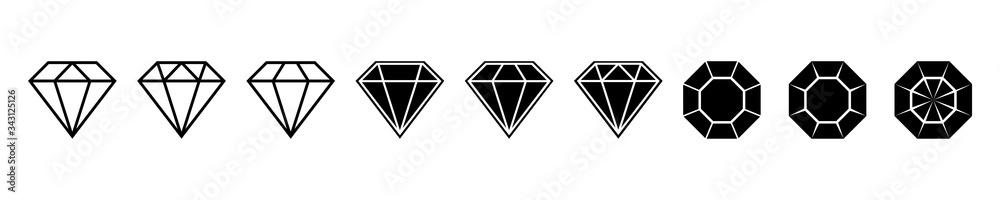 Fototapeta Diamond brilliant. Vector icon collection. Vector black diamonds collection. Linear outline sign. Diamond shapes gemstone.