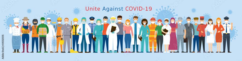 Fototapeta Group of People Multinational Wearing Face Mask United to Prevent Covid-19, Coronavirus