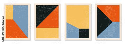 Papel de parede Set of minimal 20s geometric design posters, vector template with primitive shap