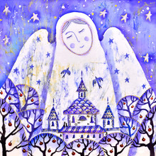 Painting With An Angel. Art.Illustration On Silk.Christmas.