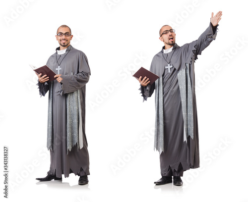 Young priest isolated on the white Wallpaper Mural