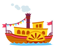 Cartoon Retro Steamboat