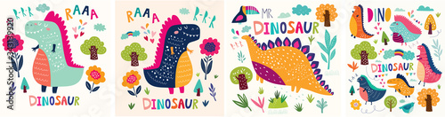 Vector Colorful collection of funny Dinosaurs with trees, flowers , rainbow and leaves. Collection of kids posters