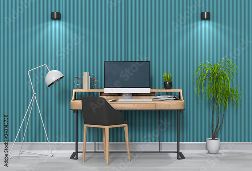 Fototapeta 3D render of interior modern living room workspace with desk and desktop computer obraz