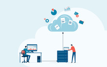 Business Technology Storage Cloud Computing Service Concept With Administrator And Developer Team Working On Cloud