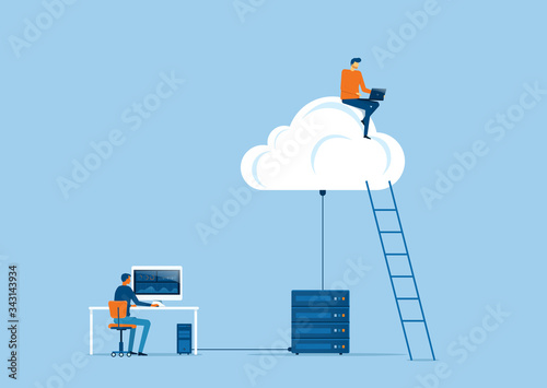 business technology storage cloud computing service concept with developer team working