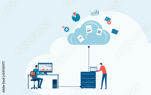Fototapeta business technology storage cloud computing service concept with administrator and developer team working on cloud obraz