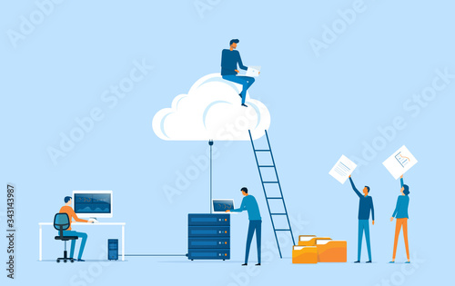Fotografia business technology storage cloud computing service concept with administrator