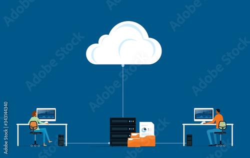 Fototapeta flat vector business technology storage cloud computing service concept with developer team working concept obraz