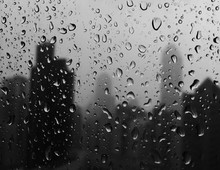 Water Drops On Wet Window