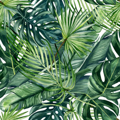 Fototapeta Drzewa Watercolor hand painted seamless pattern with green tropical leaves of monstera, banana tree and palm on white background.