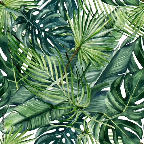 Tapeta zielona  watercolor-hand-painted-seamless-pattern-with-green-tropical-leaves-of-monstera-banana-tree-and-palm-on-white-background